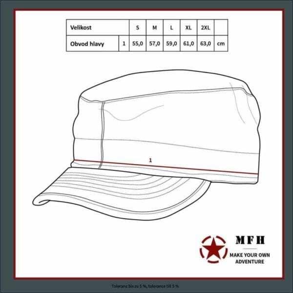 Tabulka velikostí - Čepice polní RIP-STOP MFH ve vzoru AČR VZOR 95 CZ - tabulka velikostí