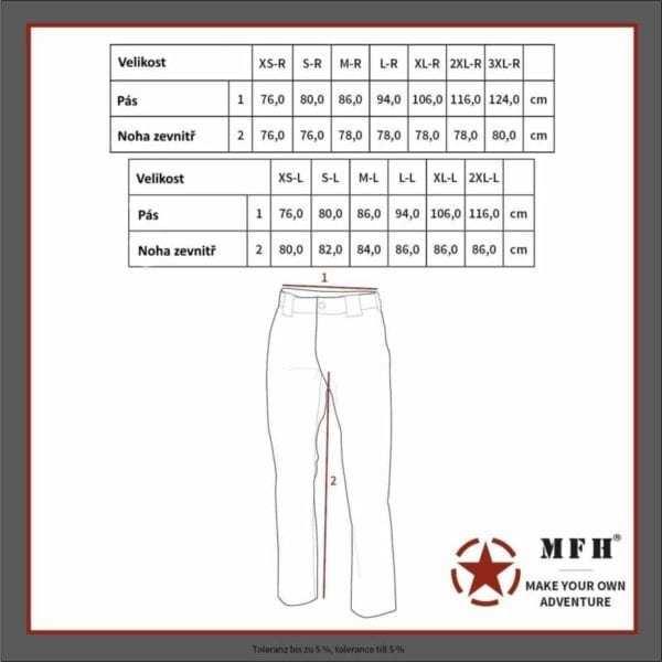 Tabulka velikostí - Kalhoty v maskovacím provedení VZOR 95 celoroční Max Fuchs AG MFH - tabulka velikostí