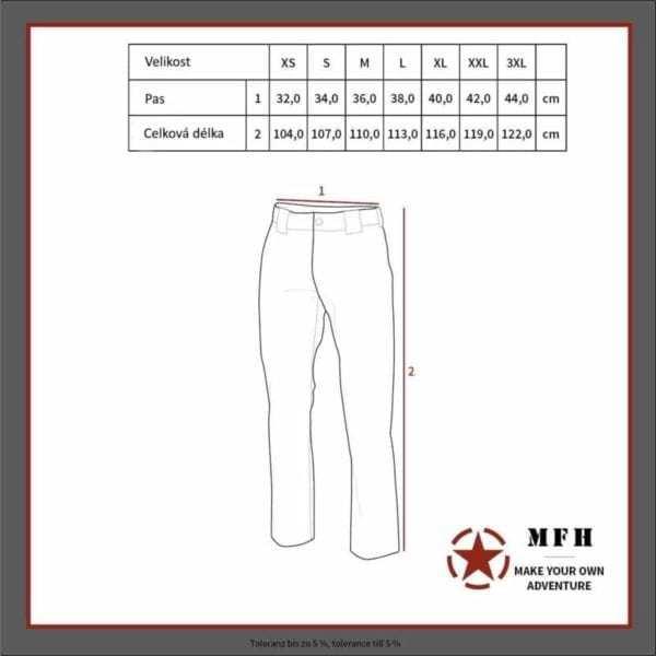 Tabulka velikostí - Termospodky lehké termo černé MFH MAX FUCHS AG