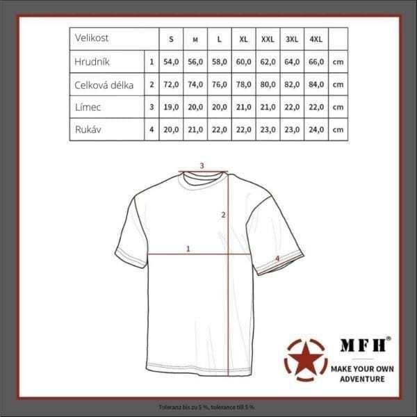 Tričko ruské námořnické kr. rukáv MAX FUCHS AG MFH - tabulka velikostí