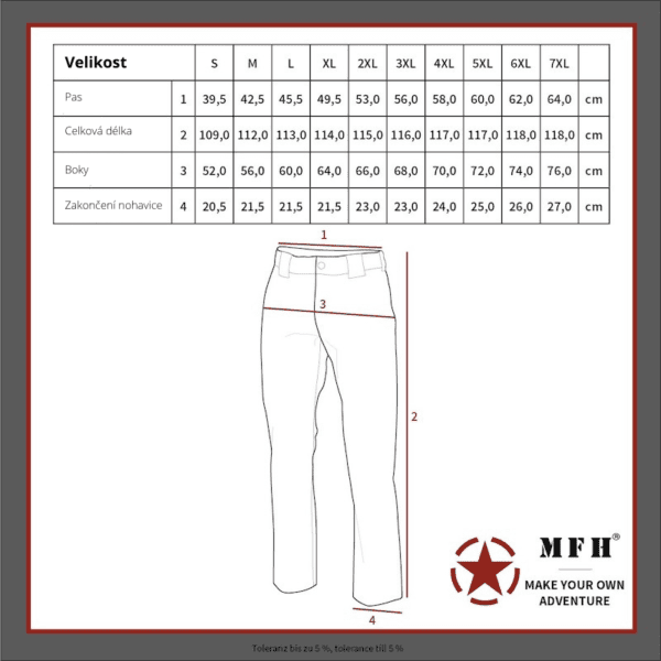 Kalhoty bojové US střih BDU BW WOODLAND MAX FUCHS AG MFH - tabulka velikostí