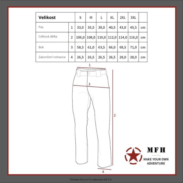 Kalhoty lovecké POLY TRICOT zelené MAX FUCHS - tabulka velikostí